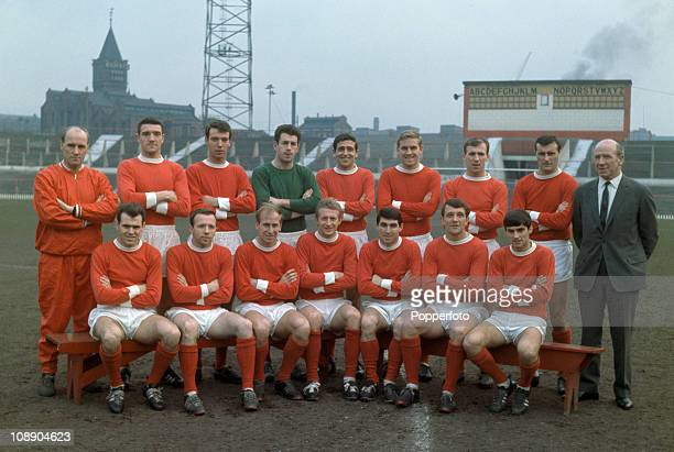 Manchester United at Old Trafford Manchester on 17th February 1965 Manchester United were League Division One champions for the season 19641965 Back...