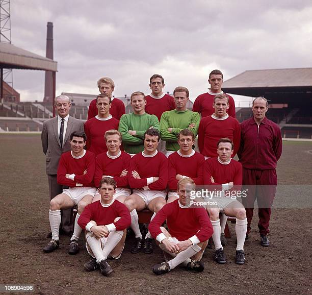 Manchester United at Old Trafford, Manchester prior to the FA Cup Final, April 1963. Back row, left to right: Denis Law, Shay Brennan and Bill...
