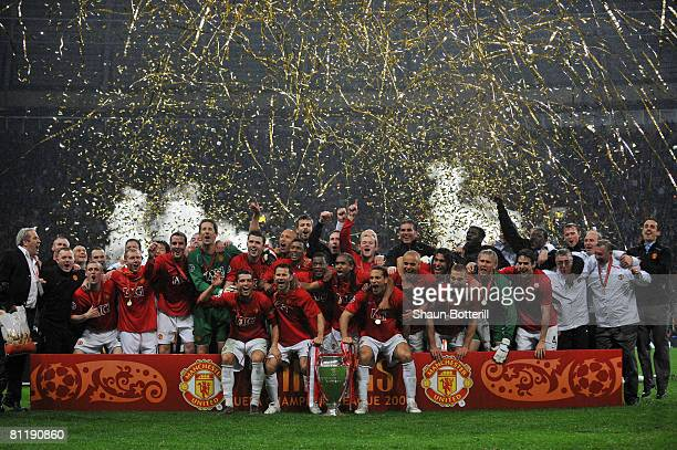 Manchester United celebrate following their team's 65 victory in the penalty shootout during the UEFA Champions League Final match between Manchester...