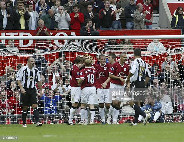 Manchester United celebrate Ole Gunnar Solskjaer's goal during the Barclays Premiership match between Manchester United and Newcastle United at Old...
