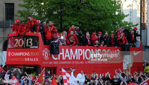 Manchester United celebrate with the Barclays Premier League trophy during the Manchester United Premier League Winners Parade at Manchester Town...