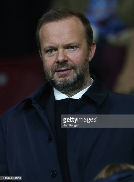 Manchester united Chairman Ed Woodward looks on prior to the Premier League match between Burnley FC and Manchester United at Turf Moor on December...
