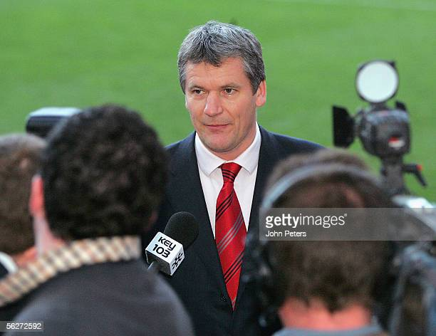 Manchester United Chief Executive David Gill pays tribute to George Best in front of the media at Old Trafford on November 25 2005 in Manchester...