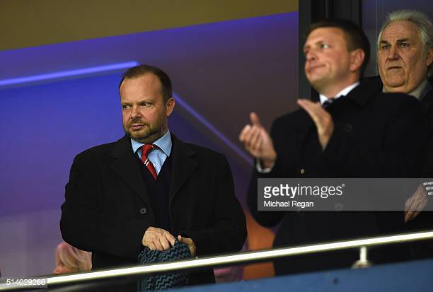 Manchester United Chief Executive Ed Woodward and Gerry Francis attend the Barclays Premier League match between West Bromwich Albion and Manchester...