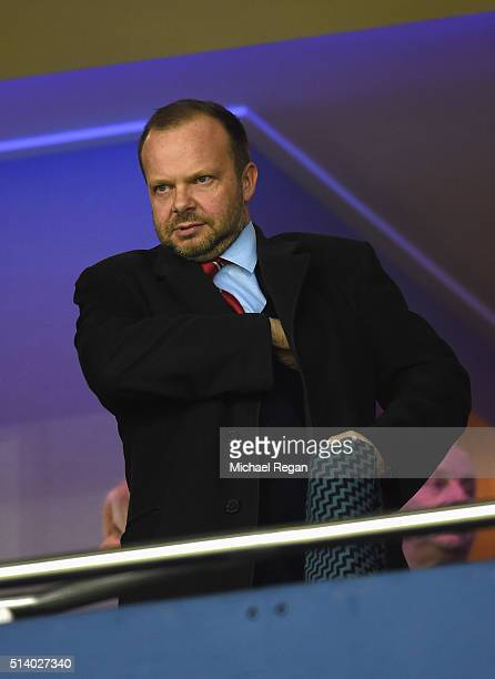 Manchester United Chief Executive Ed Woodward attends the Barclays Premier League match between West Bromwich Albion and Manchester United at The...