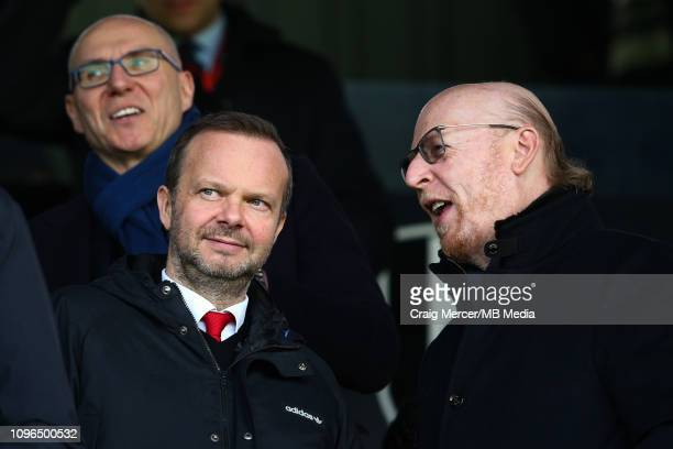 Manchester United chief executive Ed Woodward speaks to Manchester United co-chairman Avram Glazer ahead of the Premier League match between Fulham...