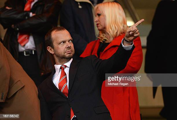 Manchester United Chief Executive Edward Woodward makes his point prior to the Barclays Premier League match between Sunderland and Manchester United...