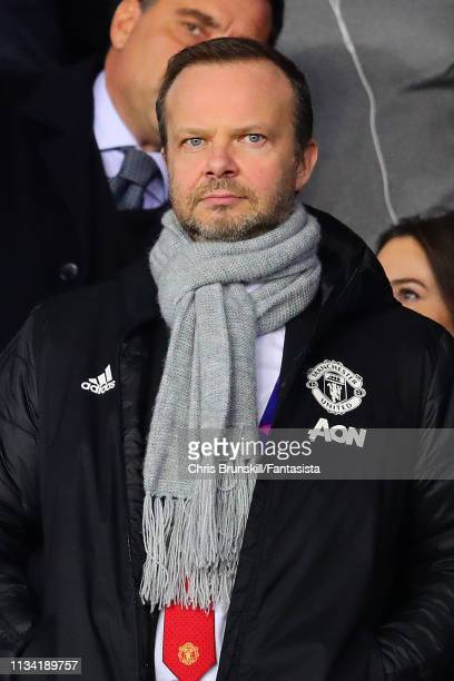 Manchester United chief-executive Ed Woodward looks on ahead of the UEFA Champions League Round of 16 Second Leg match between Paris Saint-Germain...
