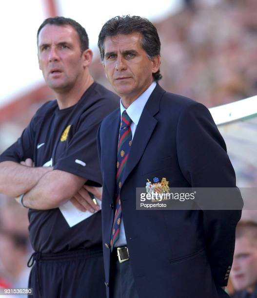 Manchester United coach Carlos Queiroz with goalkeeping coach Tony Coton during the preseason friendly between Bournemouth and Manchester United at...