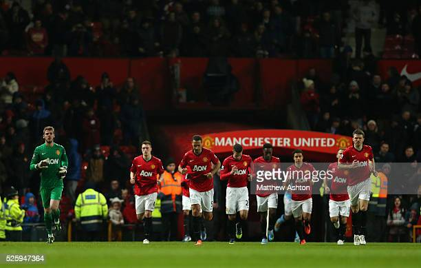Manchester United come out of the tunnel at Old Trafford the home stadium of Manchester United for the second half