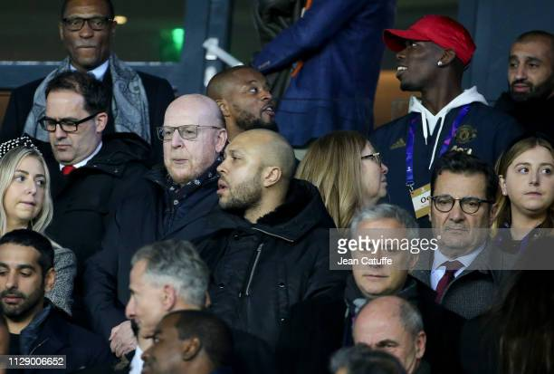 Manchester United Co-Owner Avram Glazer, Patrice Evra, Paul Pogba attend the UEFA Champions League Round of 16 Second Leg match between Paris...