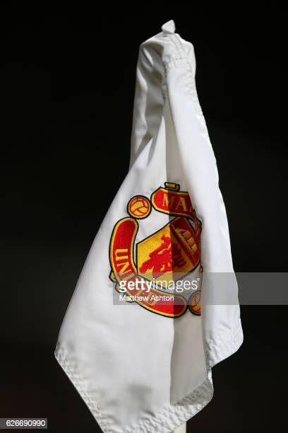 Manchester United corner flag with clubs badge / logo stitched on it