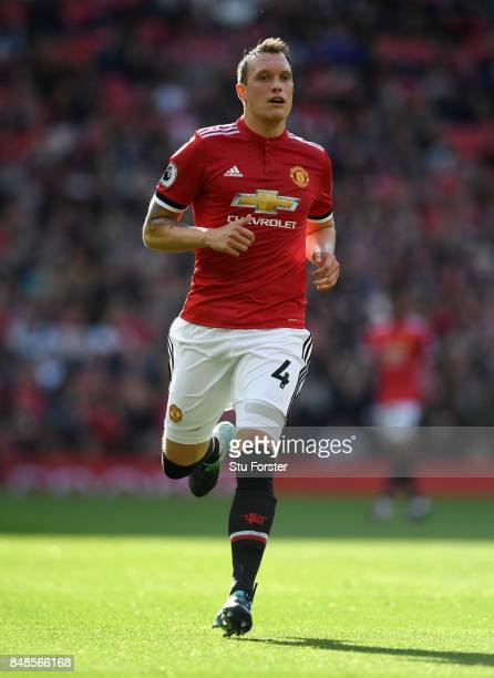 Manchester United defender Phil Jones in action during the Premier League match between Manchester United and Everton at Old Trafford on September 17...