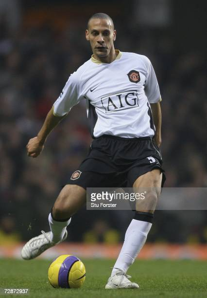 Manchester United defender Rio Ferdinand passes the ball during the Barclays Premiership match between Aston Villa and Manchester United at Villa...
