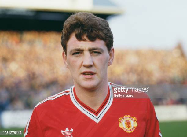 Manchester United defender Steve Bruce pictured before his debut for United against Portsmouth after his move from Norwich City, in December 1987 in...
