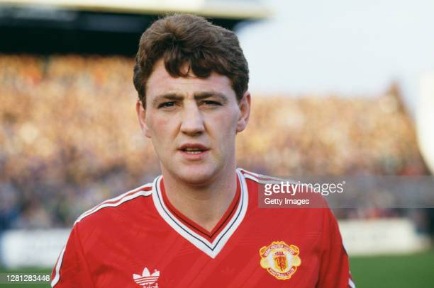 Manchester United defender Steve Bruce pictured before his debut for United against Portsmouth at Fratton Park after his move from Norwich City, in...