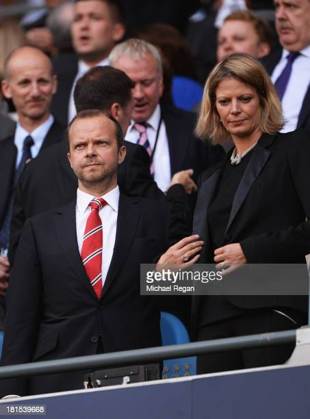 Manchester United Executive Vice Chairman Ed Woodward looks on prior to the Barclays Premier League match between Manchester City and Manchester...