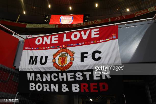 Manchester United fan flag on display prior to the FA Cup Fourth Round match between Arsenal and Manchester United at Emirates Stadium on January 25...