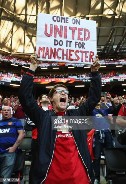 Manchester United fan holds up a sign prior to the UEFA Europa League Final between Ajax and Manchester United at Friends Arena on May 24 2017 in...