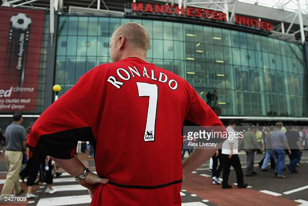 Manchester United fan wears new signing Cristiano Ronaldo shirt during the FA Barclaycard Premiership match between Manchester United and Bolton...