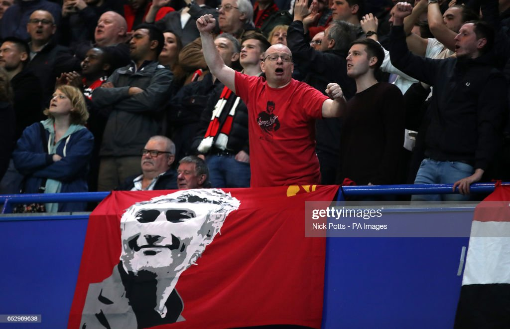 Manchester United fans during the Emirates FA Cup, Quarter Final match at Stamford Bridge, London.