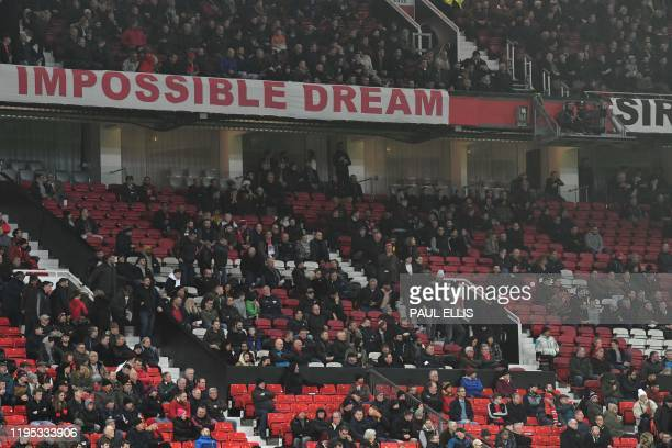 Manchester United fans leave the ground early during the English Premier League football match between Manchester United and Burnley at Old Trafford...