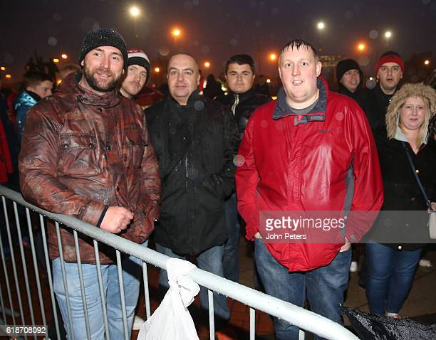 Manchester United fans queue outside the club Megastore ahead of the launch of the new adidas Ashington shoe named in honour of Sir Bobby Charlton's...