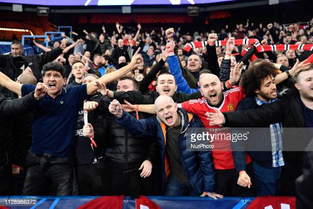 Manchester United Fans reacts during the 8th final of the Champions league's match between Paris SaintGermain and Manchester United at Parc des...