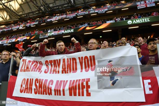Manchester United fans show their support during the UEFA Europa League Final between Ajax and Manchester United at Friends Arena on May 24 2017 in...