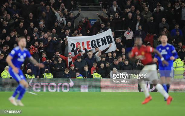 Manchester United fans show their support for Ole Gunnar Solskjaer Interim Manager of Manchester United during the Premier League match between...
