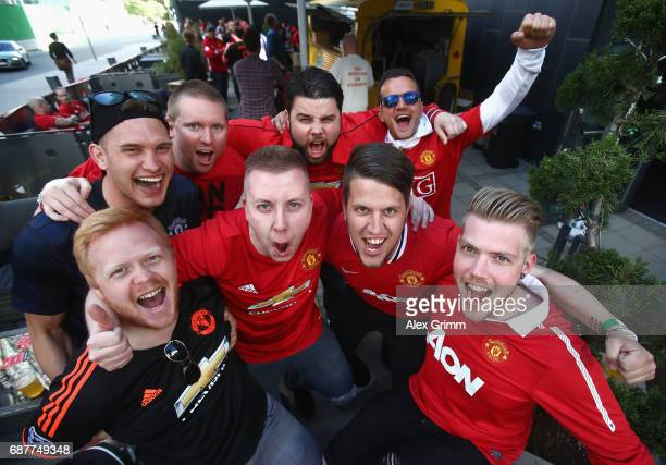 Manchester United fans soak up the atmosphere prior to the UEFA Europa League Final between Ajax and Manchester United at Friends Arena on May 24...