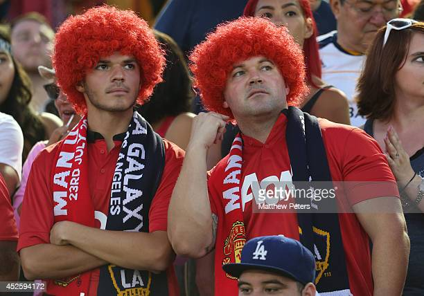 Manchester United fans watch from the stand during the preseason friendly match between LA Galaxy and Manchester United at Rose Bowl on July 23 2014...