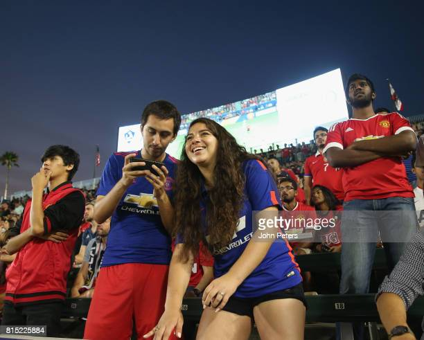 Manchester United fans watch from the stand during the preseason friendly match between LA Galaxy and Manchester United at StubHub Center on July 15...