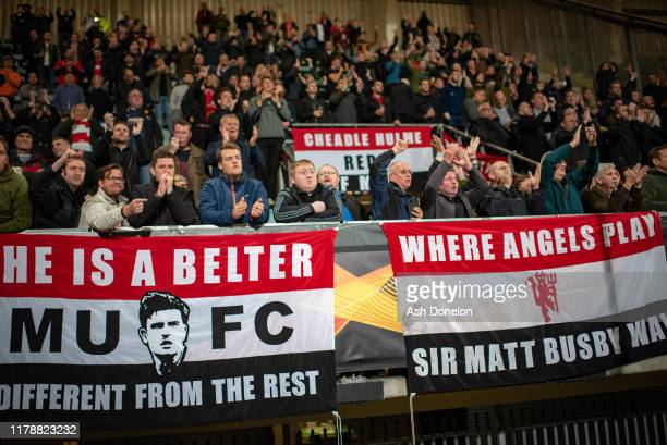 Manchester United fans watch from the stand during the UEFA Europa League group L match between AZ Alkmaar and Manchester United at Ado Den Haag...