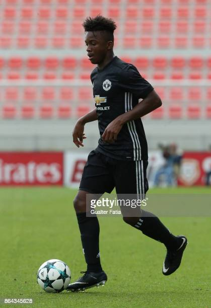 Manchester United FC defender Ethan Laird in action during the UEFA Youth League match between SL Benfica and Manchester United FC at Caixa Futebol...