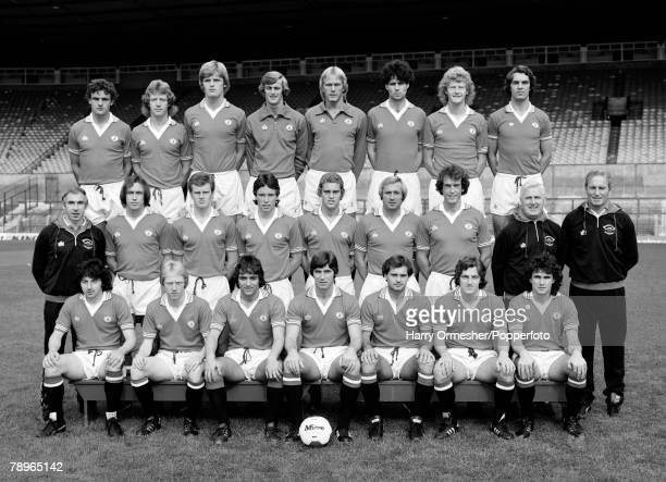 1979 Manchester United Photo call The Manchester United team pose for a team photograph Back Row LR Kevin Moran Jimmy Nicholl Gordan McQueen Paddy...