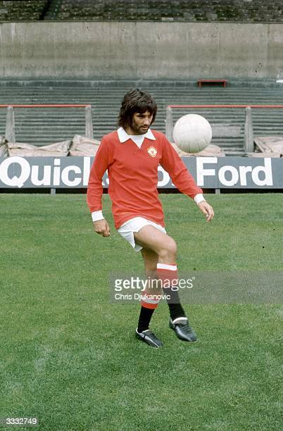 Manchester United FC player George Best practising his skills in an empty stadium