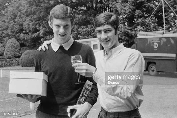 Manchester United FC players Brian Kidd and Francis Burns at a formal event May 1968