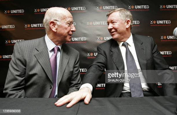 Manchester United Football Club manager, Alex Ferguson and ex-Manchester United and England player Bobby Charlton, launch 'The Manchester United...