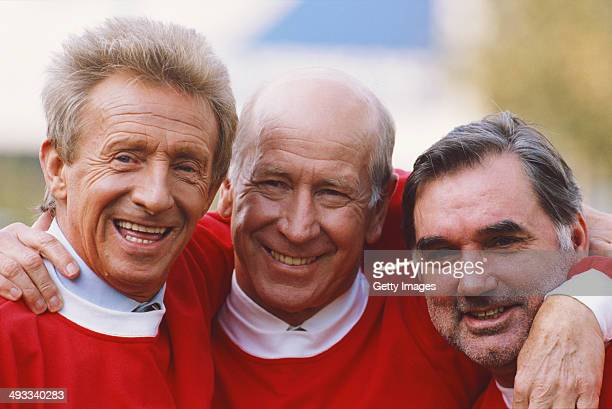 Manchester United football legends Denis Law Bobby Charlton and George Best at the launch of the Sky Sports Gold channel in 1995