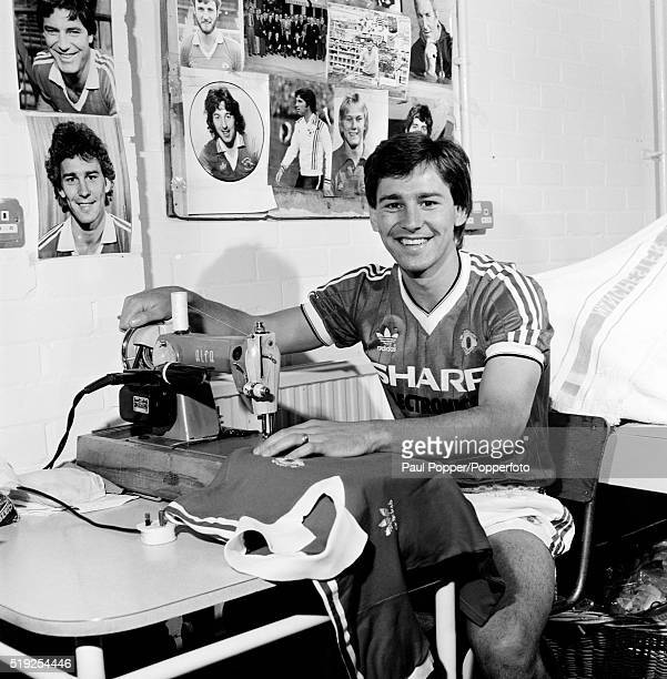 Manchester United footballer Bryan Robson in the laundry room at the Cliff traning ground in Broughton Manchester circa 1986