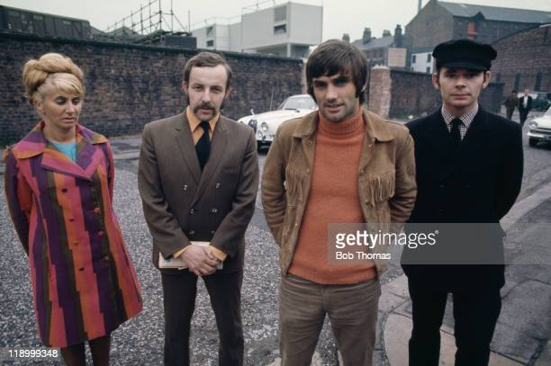 Manchester United footballer George Best with his staff in Manchester circa 1968 Left to right Pearl Goodman Malcolm Mooney Best and Bill White In...
