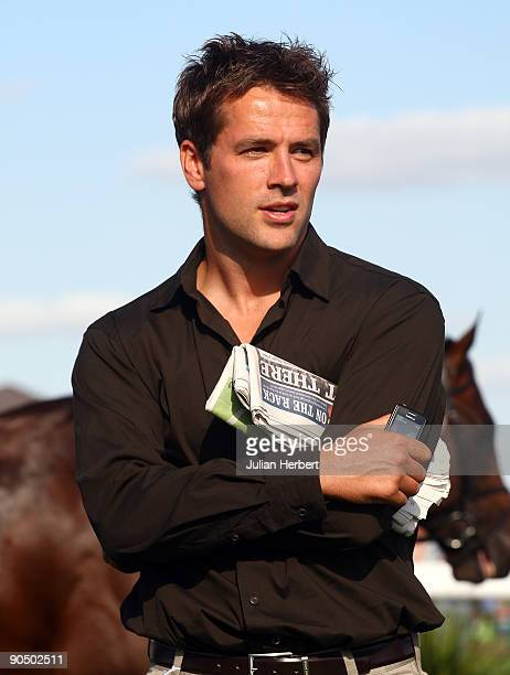 Manchester United footballer Michael Owen is seen at Doncaster Racecourse on September 9 2009 in Doncaster England
