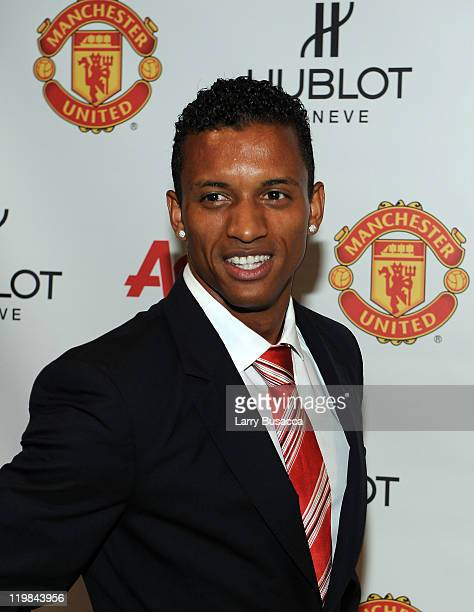 Manchester United footballer Nani attends Hublot Art of Fusion fashion show with Sir Alex Ferguson Manchester United at Cipriani Wall Street on July...