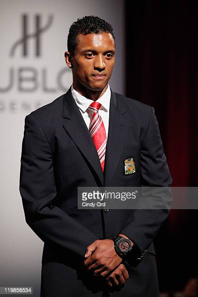 Manchester United footballer Nani walks the runway during the Hublot Art Of Fusion Fashion Show at Cipriani Wall Street on July 25 2011 in New York...