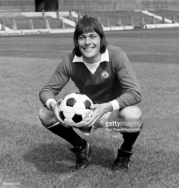 Manchester United footballer Stuart Pearson at Old Trafford in Manchester circa 1975