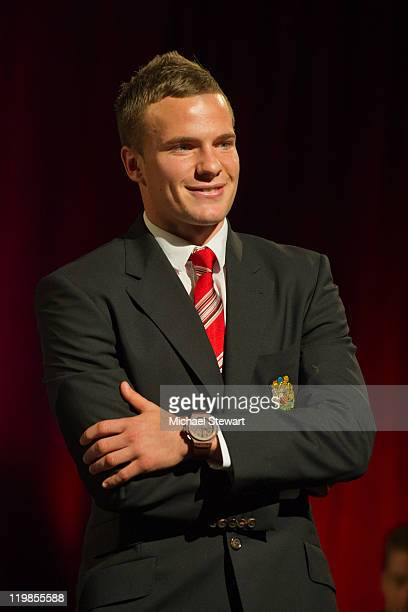 Manchester United footballer Tom Cleverley walks the runway during Hublot Art Of Fusion Fashion Show at Cipriani Wall Street on July 25 2011 in New...