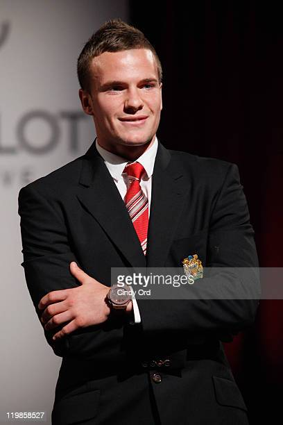 """Manchester United footballer, Tom Cleverley walks the runway during the Hublot """"Art Of Fusion"""" Fashion Show at Cipriani Wall Street on July 25, 2011..."""