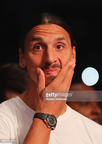 Manchester United footballer Zlatan Ibrahimovic looks on from ringside at The O2 Arena on September 10 2016 in London England