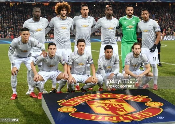 back row Belgian striker Romelu Lukaku Belgian midfielder Marouane Fellaini English defender Chris Smalling Spanish goalkeeper David de Gea and...